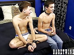 Bareback fucking with bound and skinny young homosexuals