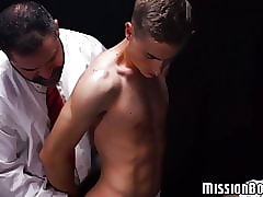 Two hot jocks gang up one a Mormon twink and fuck him raw